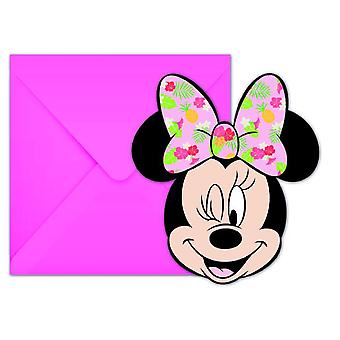 Minnie tropical mouse party invitations children birthday 6 pieces