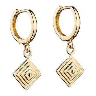 Elements Gold Pyramid Drop Hoop Earrings - Gold
