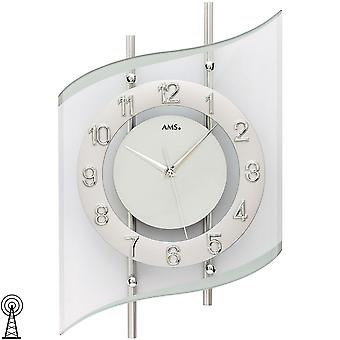 Wall clock radio radio controlled wall clock analog silver modern curved with glass 45 x 29 cm