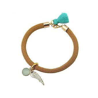 Women - bracelet - gold plated - gemstone - Aqua chalcedony - Angel Wings - Green - Brown