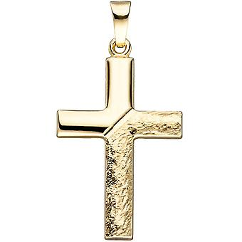 Pendant cross 585 gold yellow gold hammered gold pendant gold cross cross pendant