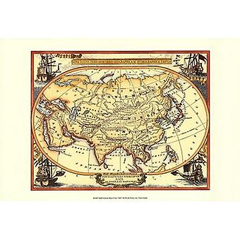 Small Nautical Map Of Asia Poster Print (19 x 13)
