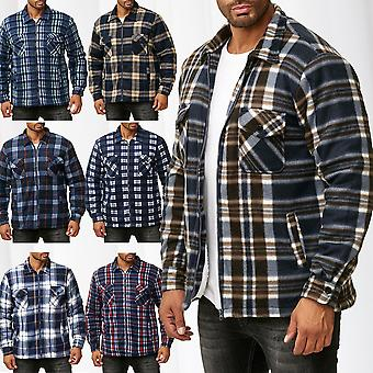 Men's Lumberjacket Chequered Thermo Shirt Lined Sweat Shirt Jacket Flannel Workwear