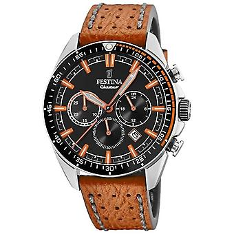 Festina Mens Chronograph Black Dial Orange Leather Strap F20377/4 Watch