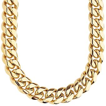 Iced out bling stainless steel curb chain - Miami Cuban 14 mm gold