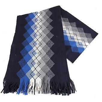 Bassin and Brown Grout Argyle Wool Scarf - Navy/Blue/White