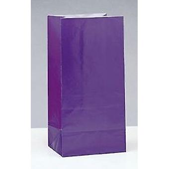 12 Purple Paper Party Bags | Kids Party Loot Bags
