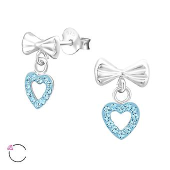Bow With Hanging Heart - 925 Sterling Silver Crystal Ear Studs - W32819x