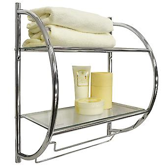 Curve - Two Tier Modern Metal And Glass Wall Mounted Shelf / Towel Rail - Silver