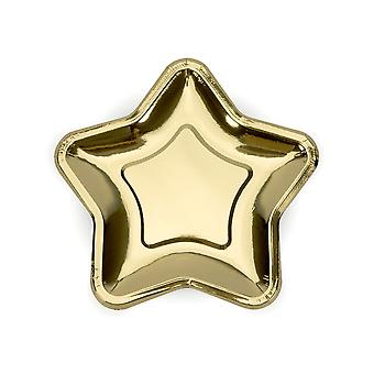 Gold Star Paper Party Plates x 6 Christmas / Birthday