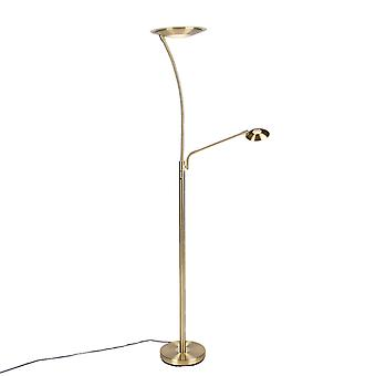 QAZQA Modern Floor Lamp Uplighter with Reading Arm Brass incl. LED - Monte Carlo