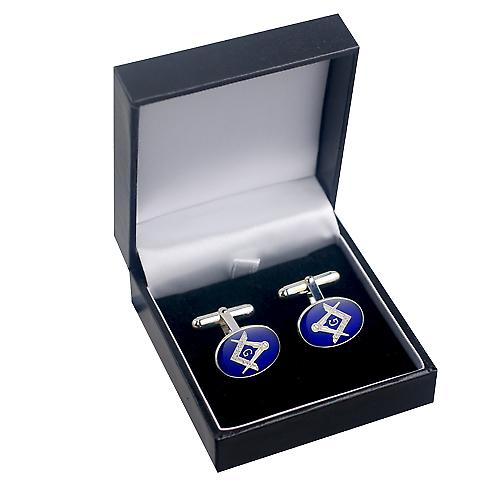 Silver 19x13mm oval cold cure enamel Masonic with 'G' swivel Cufflinks
