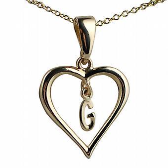 9ct gull 18x18mm første G i et hjerte anheng med en kabel kjede 20 inches
