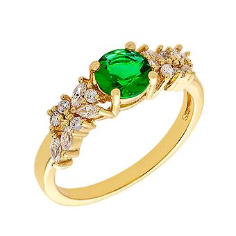 Bertha Juliet Collection Women's 18k YG Plated Green Cluster Fashion Ring Size 7