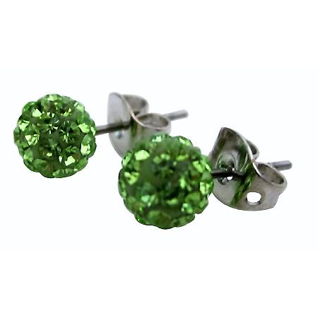 Peridot Crystals Pave Ball Stud Earrings