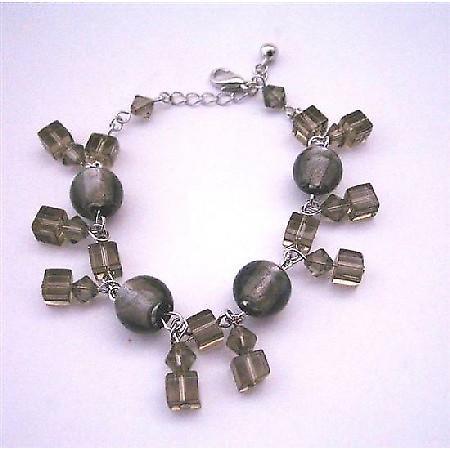 Jet Crystals Bracelet Simulated Jet Crystals Dangling Bracelet