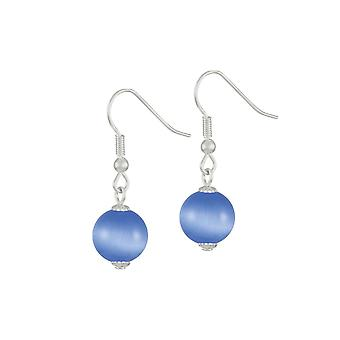 Eternal Collection Melody Blue Cats Eye Silver Tone Drop Pierced Earrings