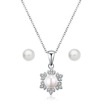 """925 Sterling Silver """"snowflake"""" Pearl Necklace & Earring Set"""