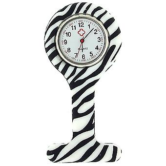 Relda Black & White Zebra Infection Control Gel Professional Fob Watch REL04