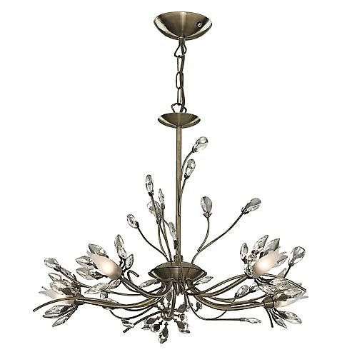 Searchlight 1885-5AB Hibiscus Traditional Antique Ceiling Light With Flower Glass