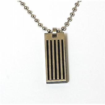 Jakob Strauss Gents Metal Black Striped Dog Tag on 20 Inch Ball Chain