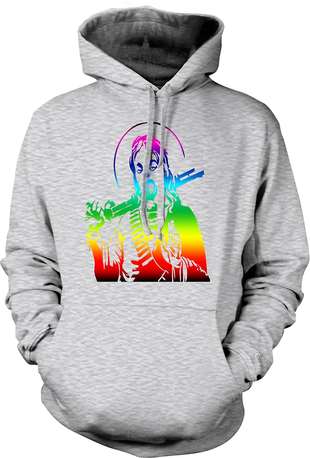 Mens Hoodie - Jesus With A Shotgun - Cool