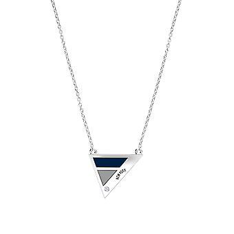 New York Yankees New York Engraved Diamond Necklace Geometric In Dark Blue And Light Grey