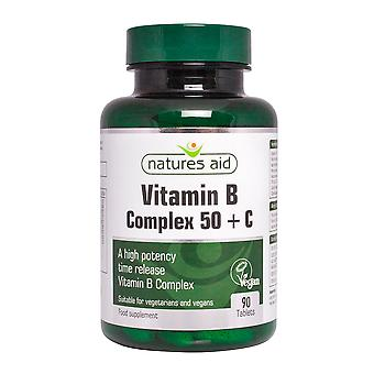 Natures Aid Vitamin B Complex (High Potency) + C (with Vitamin C) , 90 Tablets. Suitable for Vegans.