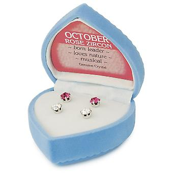 Eternal Collection October Birthstone Rose Pink And Clear Crystal Stud Pierced Earrings Gift Set