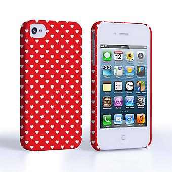 Caseflex iPhone 4 4S glinsterende Hearts geval rood en wit