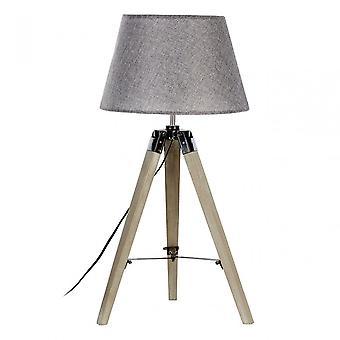 Premier Home Harper Table Lamp - EU Plug, Fabric + PVC, Wood