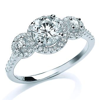 Jewelco London Rhodium Plated Sterling Silver Round Brilliant Cubic Zirconia Halo Trilogy Engagement Ring