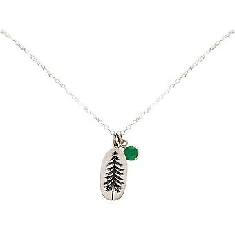 Gemshine Alpine fir forest necklace 925 silver, gold plated, rose - emerald green