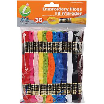 Embroidery Floss Pack 8 Meters 36 Pkg Primary Colors 1250