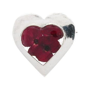Shrieking Violet Sterling Silver Real Red Poppy Flowers Love Heart Brooch