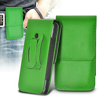 ONX3 (Green) BlackBerry DTEK50 / BlackBerry Neon Case High Quality Faux Leather Vertical Executive Pouch Holster Belt Clip Cover Case