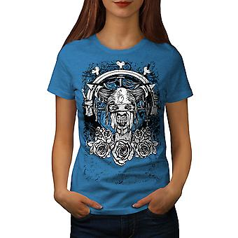 Skull Death Metal Zombie Women Royal Blue T-shirt | Wellcoda