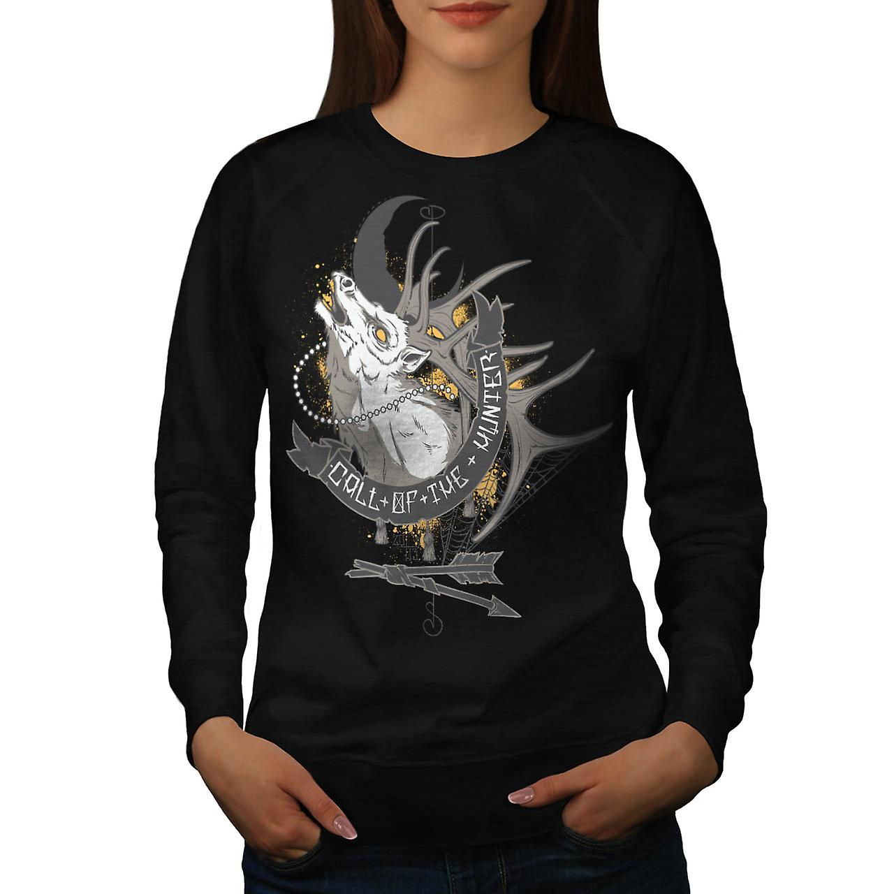 Call Of The Hunter Game Hunting Women Black Sweatshirt | Wellcoda