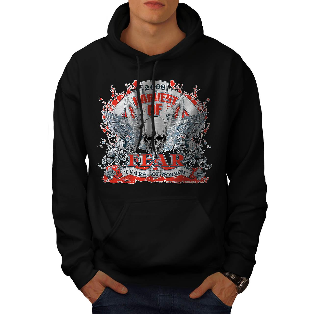 Harvest Of Fear Skull Tears Wing Men Black Hoodie | Wellcoda