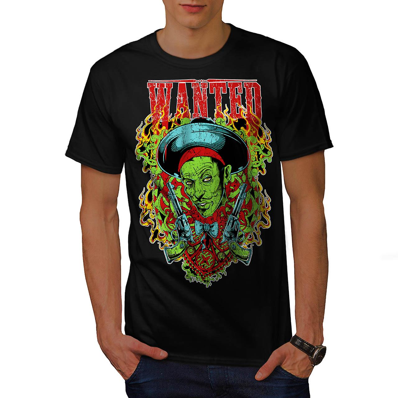 Wanted Dead Or Alive Crime Gun Men Black T-shirt | Wellcoda