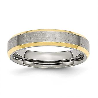 Stainless Steel Beveled Edge 5mm Brushed and Polished Gold-Flashed Engravable Yellow IP-plated Band Ring - Ring Size: 6