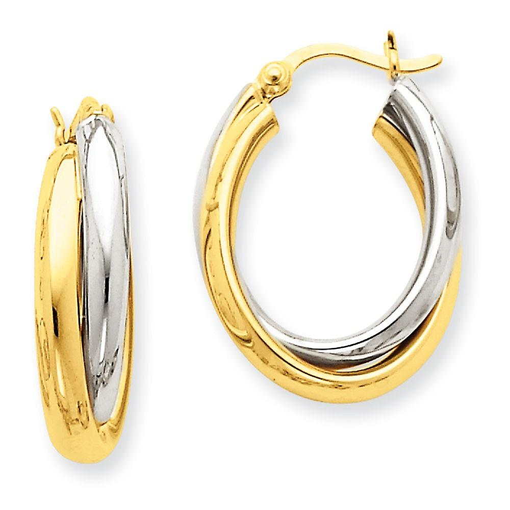 14k Two-Tone HolFaible Hinged post or Polished Double Oval Hoop boucles d'oreilles - 2.7 Grams
