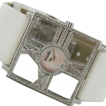 Misaki ladies watch PCUWDIVA watch White leather strap Zyrkonia
