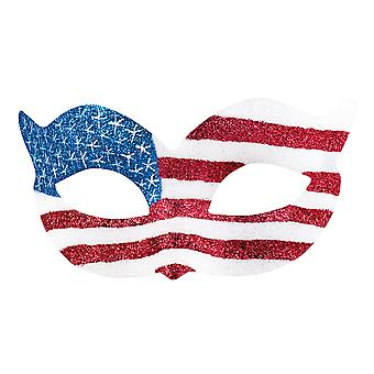 Adults United States of America Glitter Eye Mask USA Fancy Dress Accessory