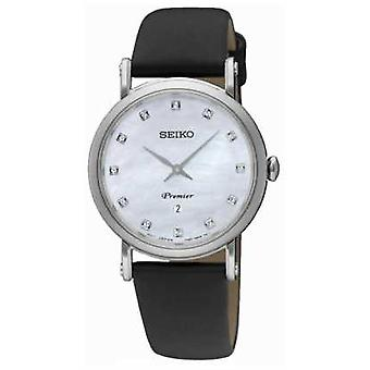 Seiko Womans Dame Stainless Steel Date Black Leather Strap SXB433P2 Watch