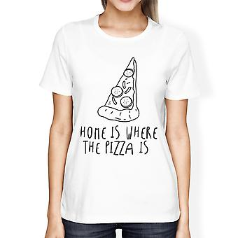 Home Where Pizza Is Girls White Tops Funny Graphic T-shirt