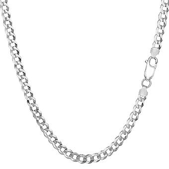 Sterling Silver Rhodium Plated Curb Chain Necklace, 3.7mm