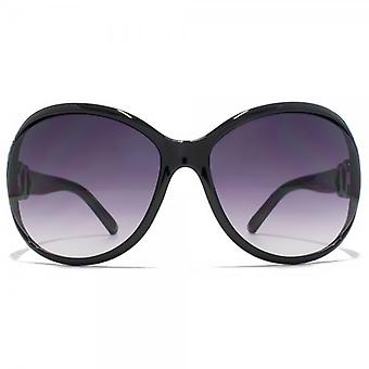 Carvela Oval Cut Out Sunglasses In Black