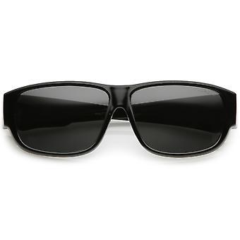 Vierkante gepolariseerde Lens dikke hoorn omrande zonnebril met brede armen 57mm