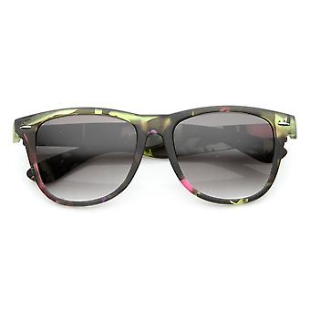 Large Floral Print Womens Fashion Horn Rimmed Sunglasses